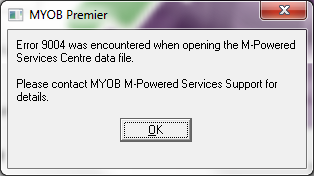 MYOB Error 9004: M-Powered Services