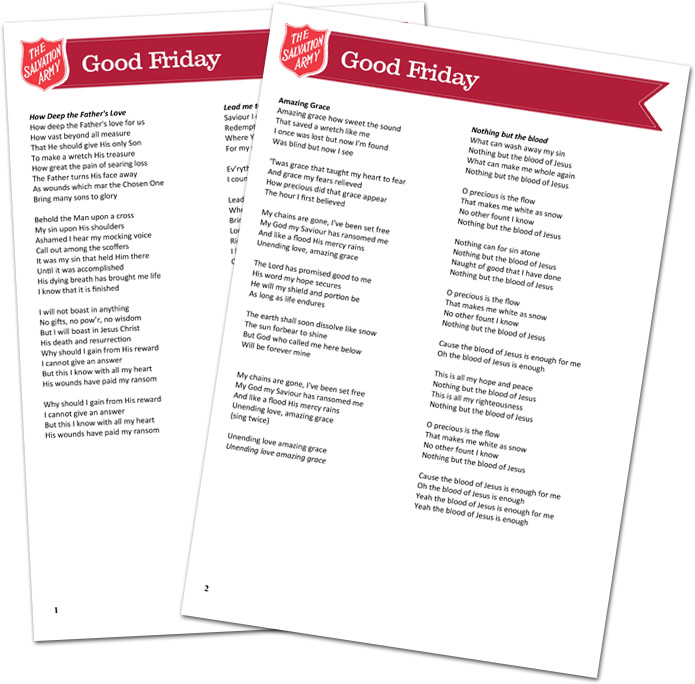 Easter: Good Friday Song Sheets
