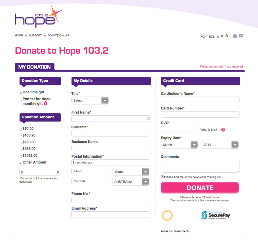 Donation Page Example: Hope 103.2
