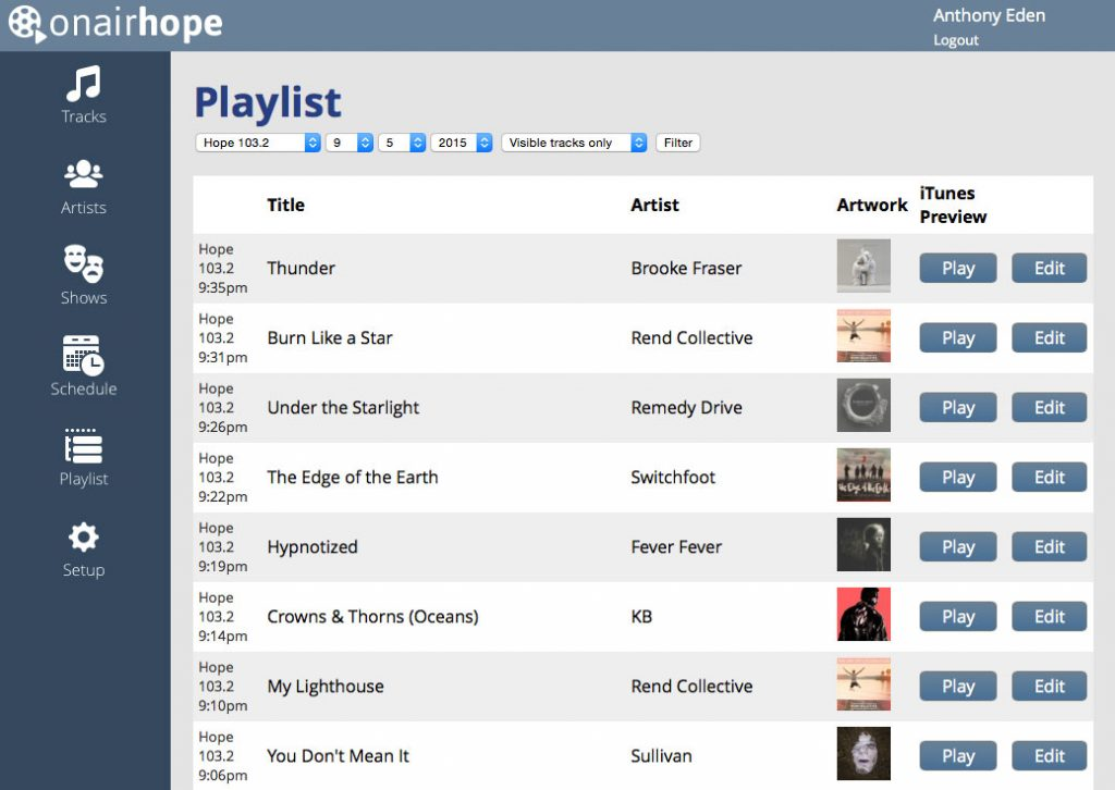 OnAirHope V3: Playlists Screenshot