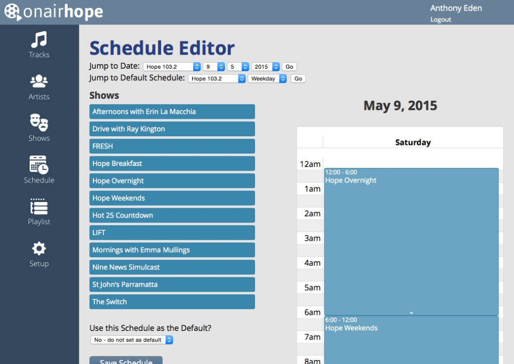 OnAirHope V3: Schedule Editor Screenshot