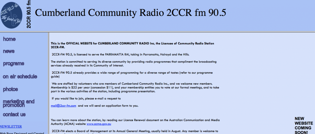 2CCR Website - Early 2007 (I replaced this in mid-2007)